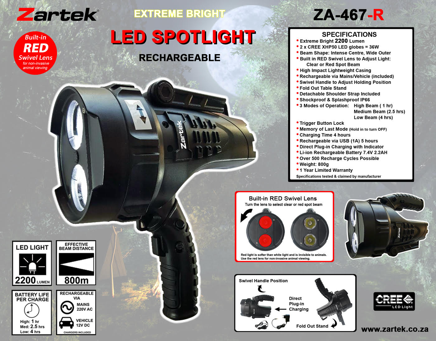 ZarteK Rechargeable LED Spotlight ZA-467R